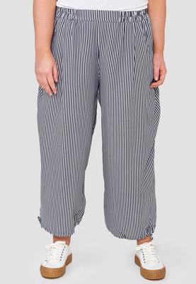Kekoo wijde broek wit met smalle grijze strepen, rekbare taille, steekzakken