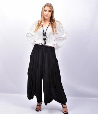 Broek/rok, zeer wijd, zwart, rekbare taille, apart, asymmetrisch zak op zijhoogte