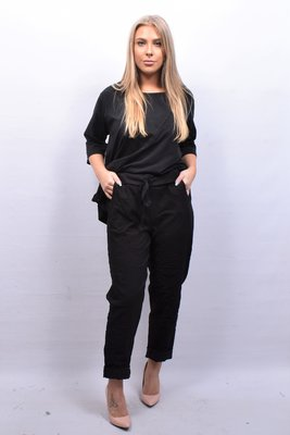 Stretchbroek, zwart,  elastische taille met tunnelkoord, gekreukte stof,