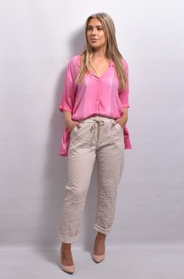 Stretchbroek, licht roze, elastische taille met tunnelkoord, gekreukte stof, stone washed