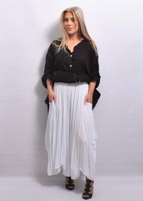 Broek/rok, wit, zeer wijd, rekbare taille, apart, asymmetrisch zak op zijhoogte