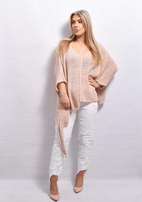 Stretchbroek, wit,  elastische taille met rafeltjes en palletjes, gekreukte stof,
