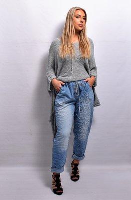 Spijker stretchbroek, lichtblauw rekbare taille met tunnelkoord, sierknopen, gekreukte stof, stonewashed