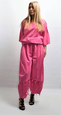 Broek, La Bass, ballonmodel, roze, elastische taille, steekzakken