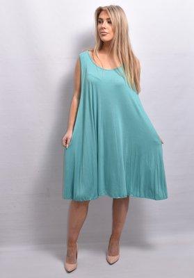 Tuniek/jurk, lichtgroen, mouwloos,  A-lijn, ronde hals,