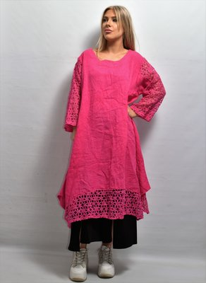 Lange tuniek/jurk, linnen, roze ,linnen, ronde hals, kanten mouw en zoom, La-Bass