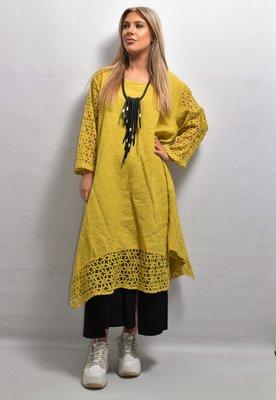 Lange tuniek/jurk, linnen, geel, linnen, ronde hals, kanten mouw en zoom, La-Bass