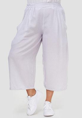 Aparte wijde broek, wit/grijs met smalle streep, Kekoo,  rekbare taille, steekzakken, 7/8e lengte,