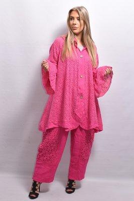 Vest/jas, linnen, roze ,ronde hals, flair mouw, knoopsluiting, A-lijn, La-Bass