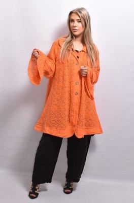 Vest/jas, linnen, oranje, ronde hals, flair mouw, knoopsluiting, A-lijn, La-Bass