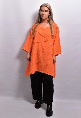 Tuniek met naar buiten gestikte naden, linnen, oranje ,ronde hals, korte mouw, A-lijn, La-Bass