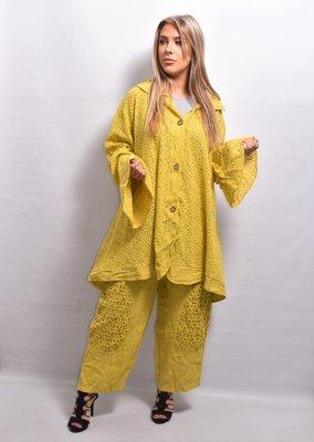Vest/jas, linnen, geel ,ronde hals, flair mouw, knoopsluiting, A-lijn, La-Bass