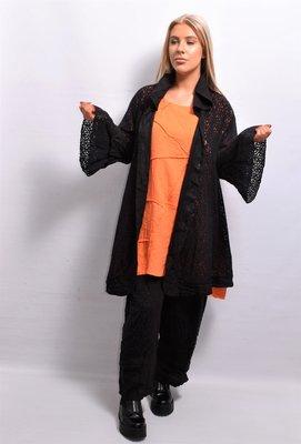 Vest/jas, linnen, zwart  ,ronde hals, flair mouw, knoopsluiting, A-lijn, La-Bass