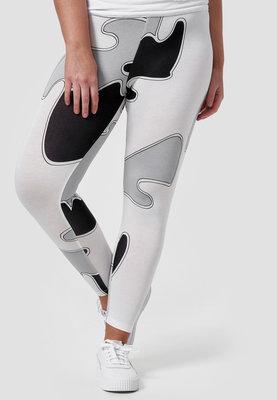 Legging, zwart/grijs/wit, Kekoo, bubbel look, brede elastische tailleband, mooie pasvorm