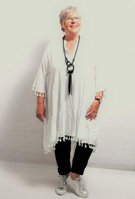 Tuniek, wit, Ibiza style, korte mouw, knoopsluiting