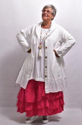 Jas/vest, wit, met lange mouw en knoopsluiting en capuchon