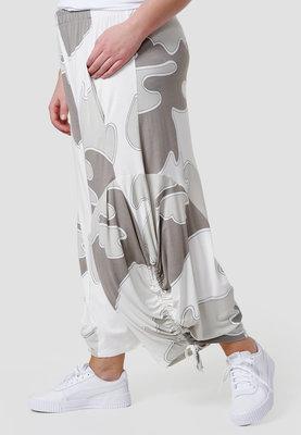 Zouavebroek, Kekoo, taupe/ wit gevlekt, elastische taille, steekzakken, koordjes onder aan zijkant pijp