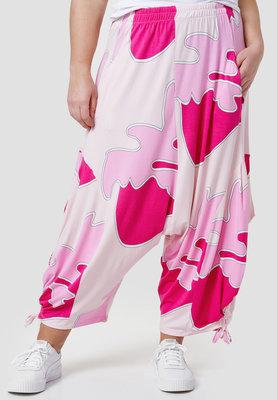 Zouavebroek, Kekoo, roze gevlekt, elastische taille, steekzakken, koordjes onder aan zijkant pijp