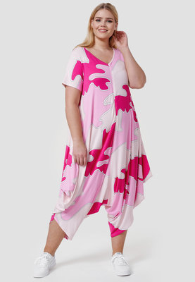 Jumpsuit, Kekoo, roze gevlekt,  mouwloos, ritssluiting, schuine pijpen,