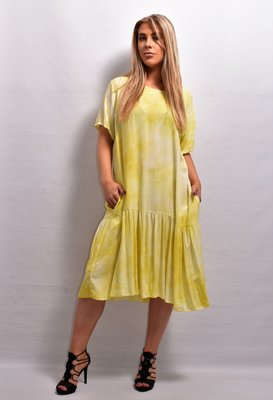 Jurk  les Freres geel tie-dye, korte mouw, A-lijn, strook met plooitjes onder de steekzakken
