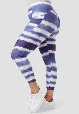 Legging, blauw/ wit batik met zakken, Kekoo, rekbare tailleband, mooie pasvorm