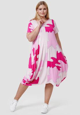 Jurk, roze gevlekt, Kekoo,  korte mouwen, steekzakken op voorpand, mooie A-lijn