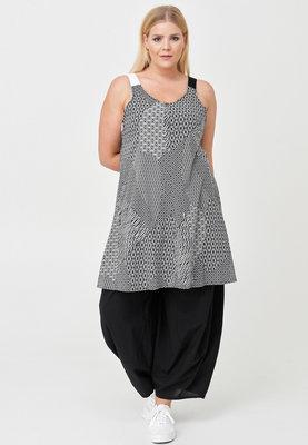 Kekoo overgooier,zwart met print, steekzakken, A-lijn, apart door zijn schouderbandjes ,