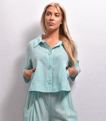Jasje/blouse, Kekoo, mint groen, met kraag en capuchon,knoopsluiting