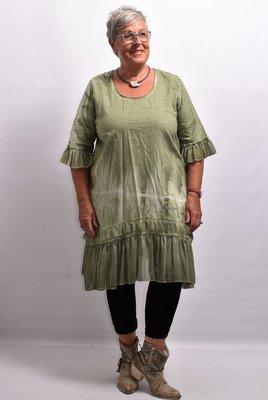 Jurk/tuniek, groen, met ronde hals en 3/4 mouwen, tie dye/stone washed