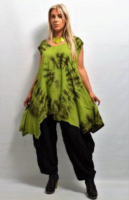 Top  groen batik mouwloos tie & dye La-Bass asymmetrisch