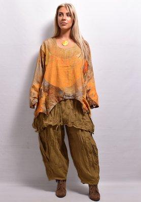 Shirt kort batik okergeel lange mouw  mooie kleuren verloop, La-Bass asymmetrisch, A-lijn
