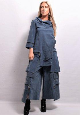 Tuniek, Kekoo  apart, jeansblauw met  rits, zakken, asymmetrisch, grote hangcoll