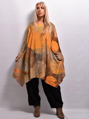 Shirt batik okergeel lange mouw  mooie kleuren verloop, La-Bass, steekzakken, A-lijn asymmetrisch,,