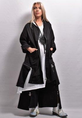Jas /lang vest, zwart, Kekoo, apart, ritssluiting, zakken, asymmetrisch, stretchstof