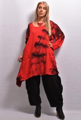 Shirt rood lange mouw , tie & dye La-Bass, aparte zakken, asymmetrisch