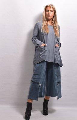 Tuniek, grijs/blauw, A-lijn ronde hals, lange mouw, met leuke details en zakken
