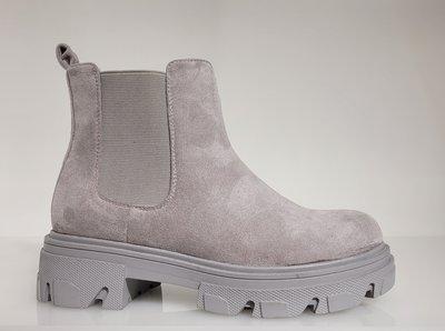 Boots, halfhoog, grijs, met hoge zool, stretch inzetstukken