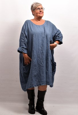 Jurk/ Lange tuniek jeansblauw met opgestikte zakken, Made in Italy