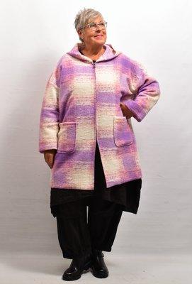 Jas/ Vest, lila capuchon, grote zakken, New Collection