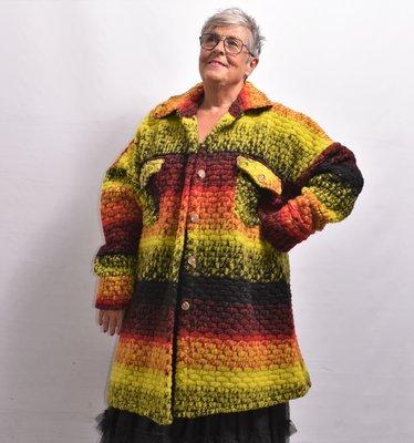 Jas/ Vest, geel/rood, New Collection, zakken met kleppen