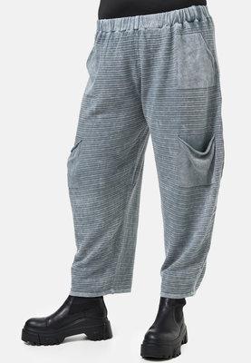 Broek Kekoo grijs, stone washed van gebreide stof, rekbare taille met zakken