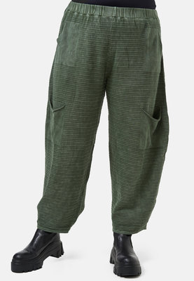 Broek Kekoo groen, stone washed van gebreide stof, rekbare taille met zakken
