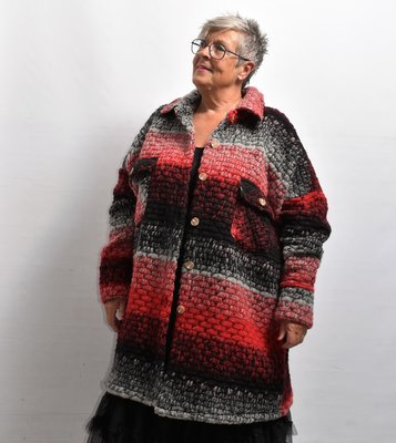Jas/ Vest, grijs/rood, New Collection, zakken met kleppen