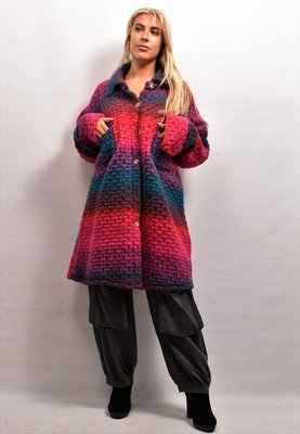 Jas/ Vest, framboos/blauw, New Collection, zakken met kleppen