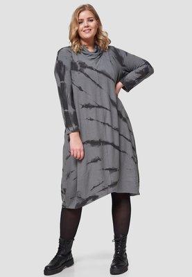 Jurk, Kekoo, met sjaalkraag met print, split midden achter in de zoom