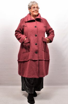 Lange jas/ mantel oud roze, A-lijn, knoopsluiting