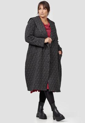 Lange jas/ Kekoo, mantel antraciet overslagkraag en capuchon