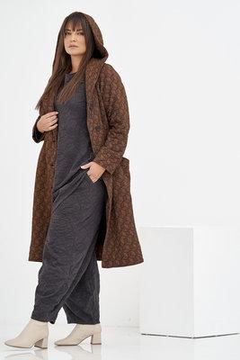 Lange jas/ Kekoo, mantel koper, overslagkraag en capuchon