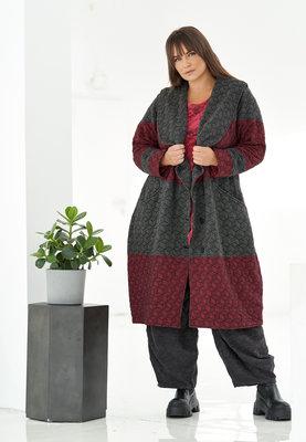 Lange jas/ mantel Kekoo rood/ antraciet, tweekleurig