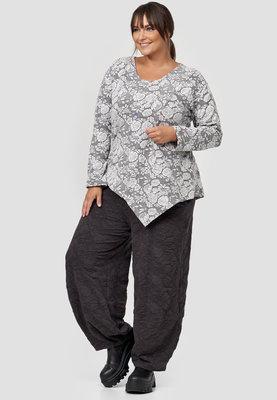 Tuniek/shirt, Kekoo, grijs met bloemenprint met ronde hals en lange mouwen, asymmetrisch